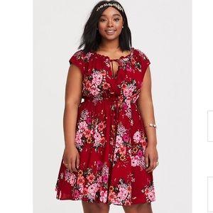 Torrid Red Challis Floral Mini Dress Size 3 (3X)
